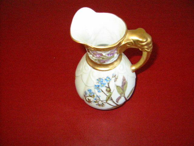 Royal Worcester Jug Porcelain Pitcher Elephant Gold Handle - Designer Unique Finds