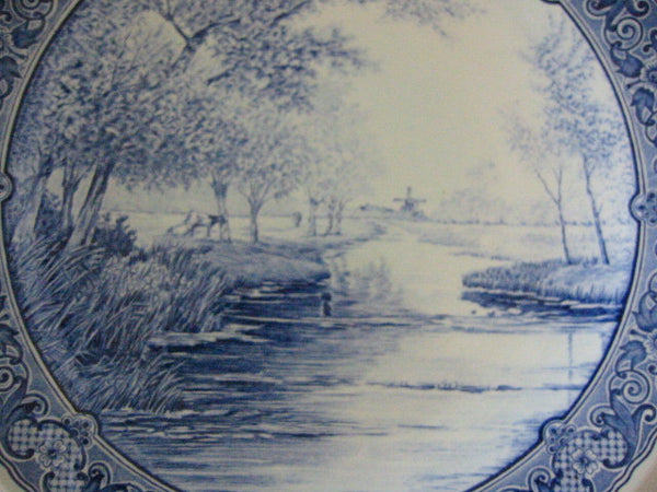 Blue Delft Charger Royal Sphinx Boch Transfer Dutch Landscape - Designer Unique Finds   - 2