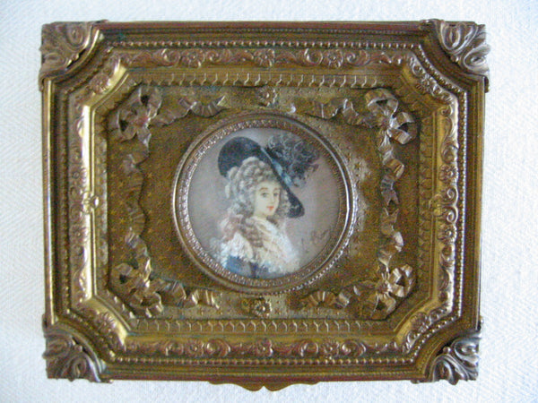 French Gilt Bronze Humidor Box Mounted Signed Painting Portrait - Designer Unique Finds   - 3
