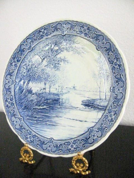 Royal Sphinx Boch Blue Delft Charger Transfer Dutch Landscape - Designer Unique Finds