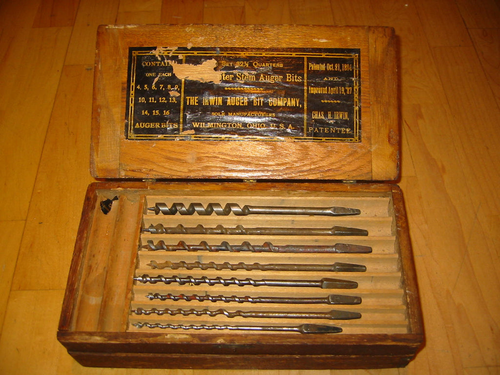 Irwin Auger Bit Carpentry Tool Set Wooden Sectional Case - Designer Unique Finds   - 1
