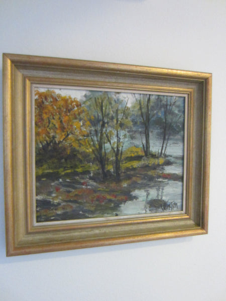 Impressionist Landscape Autumn Trees Oil On Board Signed By Winston - Designer Unique Finds