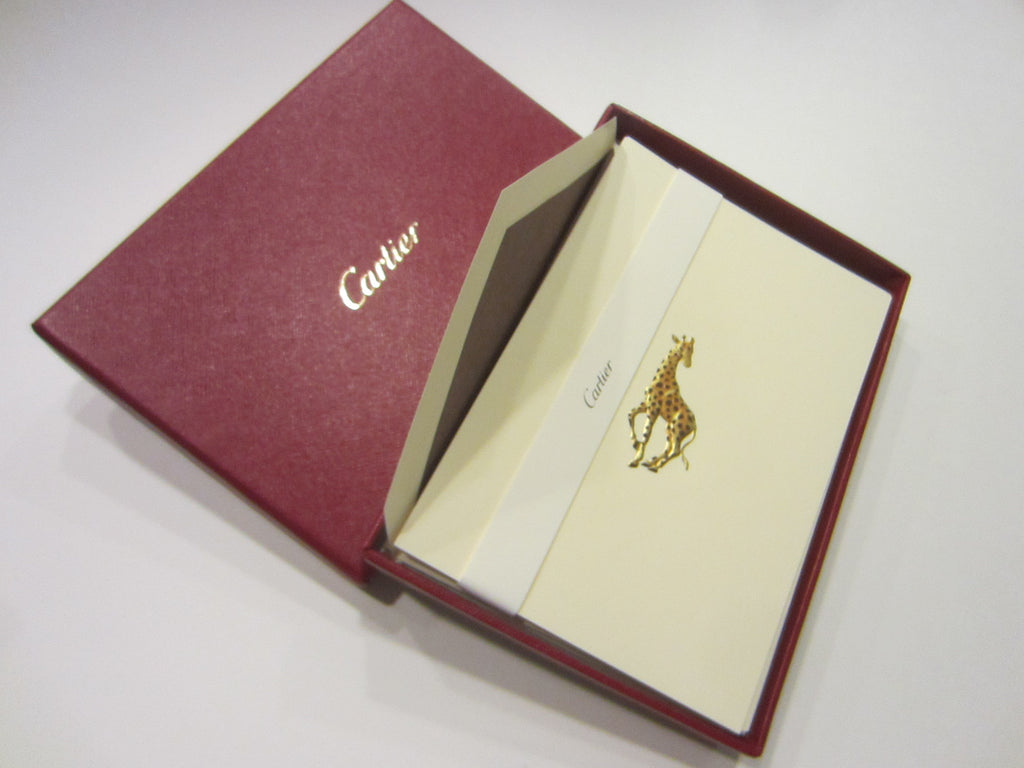 Cartier Note Cards Gold Giraffes Stationary Desk Accessories
