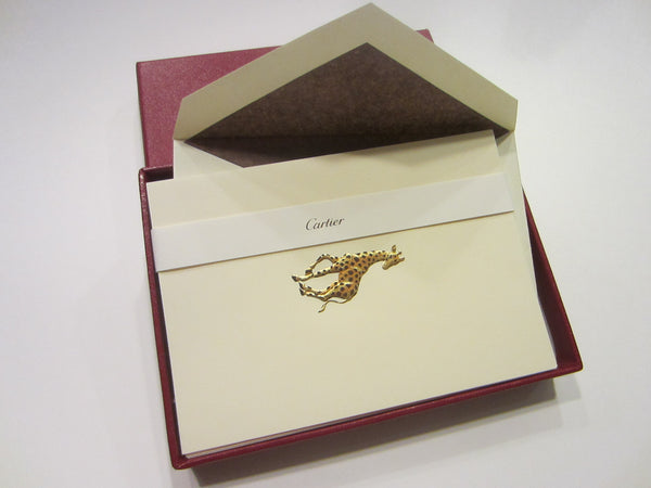 Cartier Note Cards Gold Giraffes Stationary Desk Accessories - Designer Unique Finds