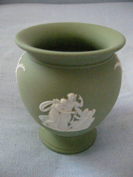 Wedgwood Green Vase England Jasper Green White Aphrodite - Designer Unique Finds