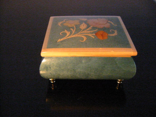 Music Jewerly Box Come To Sorento Reuge Italy Floral Inlaid Marquetry - Designer Unique Finds   - 1