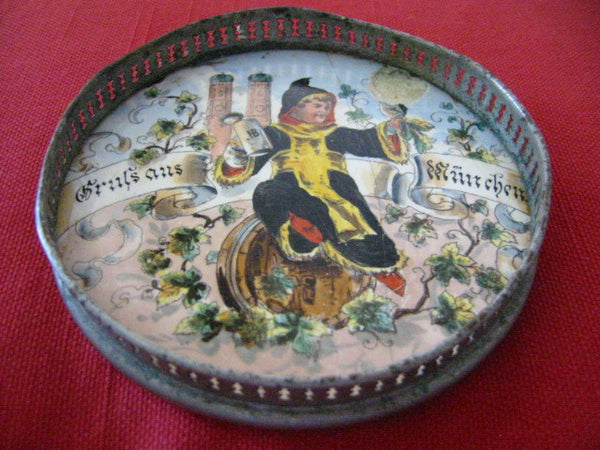 Medieval Stone Ground Metal Tray Hand Decorated Figurative Marked Germany - Designer Unique Finds