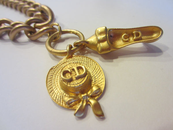 Christian Dior Charms Brass Link Golden Choker - Designer Unique Finds   - 1