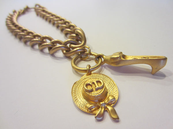 Christian Dior Charms Brass Link Golden Choker - Designer Unique Finds   - 3