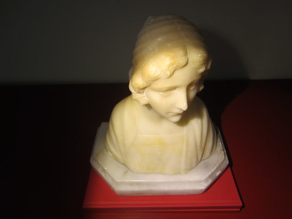 A Pheasant Girl In Bonnet Hand Carved Marble Sculpture Bust