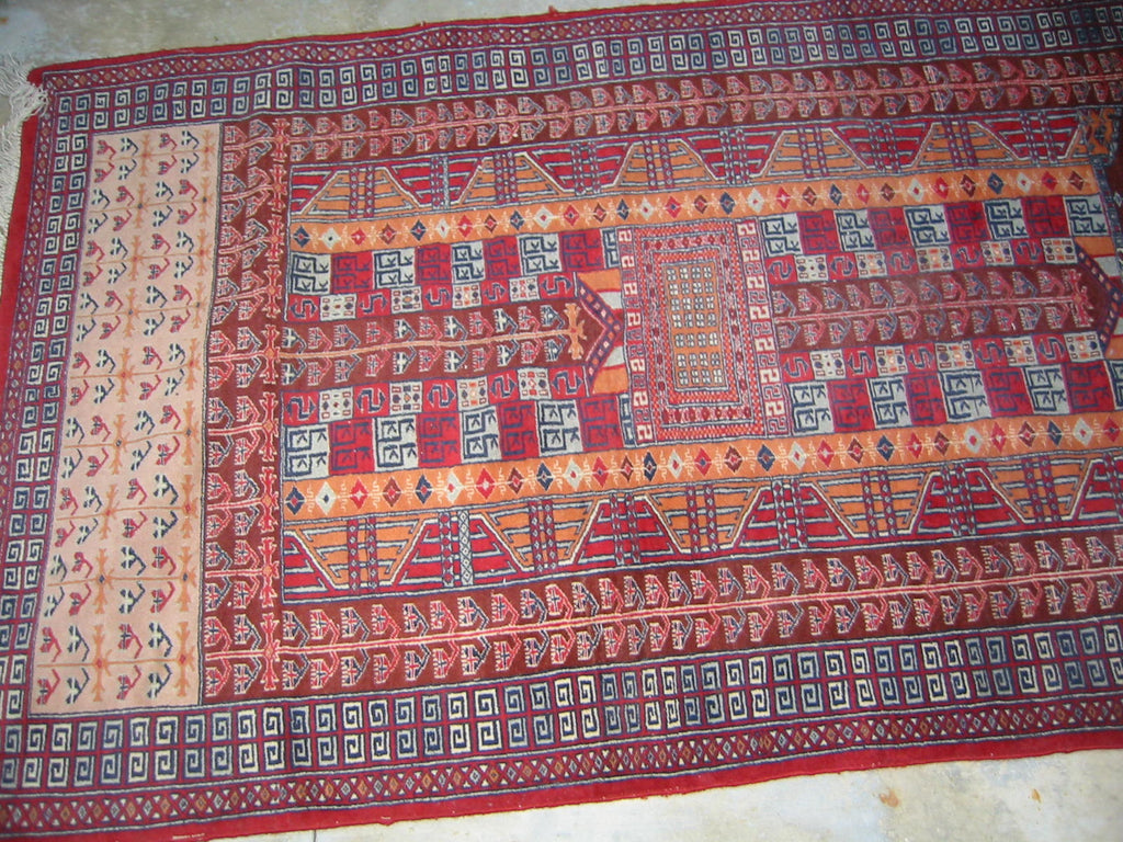 Torkemen Rug Northern Persia Pile of Wool Tribal Art - Designer Unique Finds   - 4