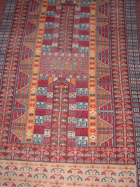 Torkemen Rug Northern Persia Pile of Wool Tribal Art - Designer Unique Finds   - 1