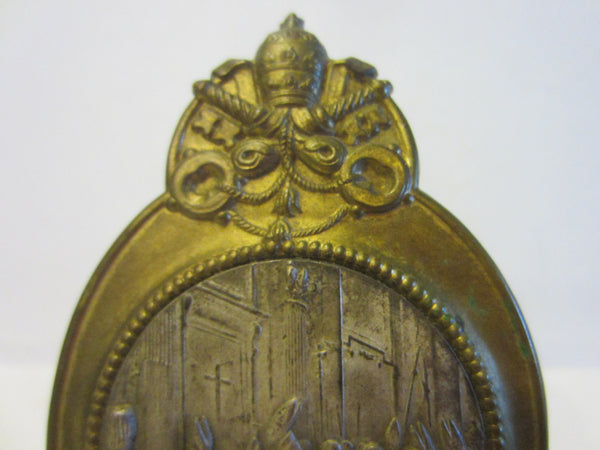 Art Deco Roma Miniature Crested Brass Icon Inspires Vatican Marked Germany - Designer Unique Finds