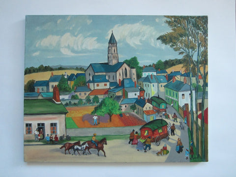 A Town In Europe Signed D Berg Impressionist Architectural Oil On Canvas