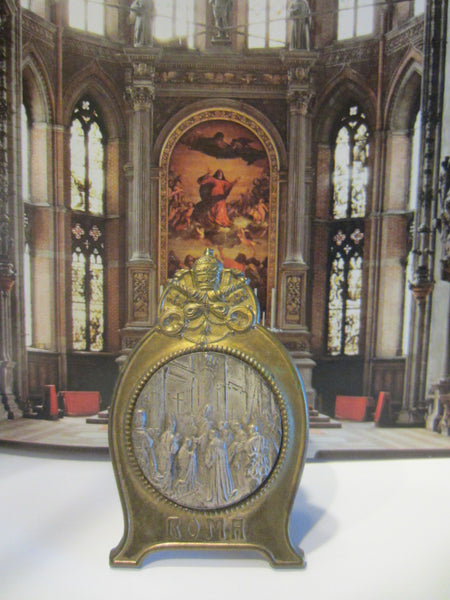Vatican Scene Miniature Germany Metal Art Titled ROMA Marked In Etch