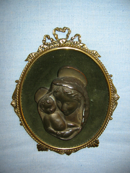 Religious Inspire Mary And Child Bronze Portrait From Italy - Designer Unique Finds   - 4