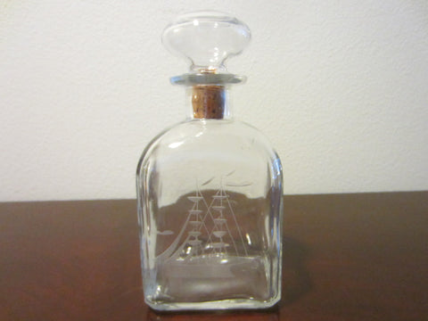 Nautical Art Deco Italian Glass Decanter Etched Marine Sail Boat - Designer Unique Finds   - 1