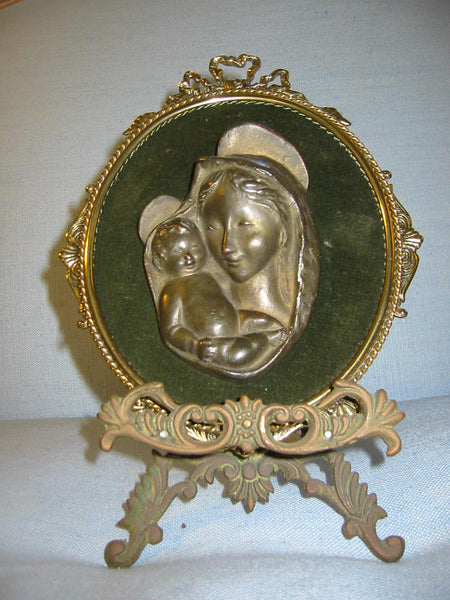 Religious Inspire Mary And Child Bronze Portrait From Italy - Designer Unique Finds   - 2
