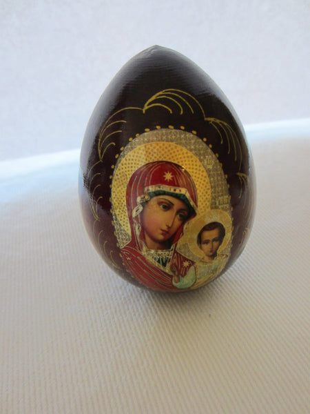 Madonna Child Russian Icon Egg Traditional Byzantine Style - Designer Unique Finds