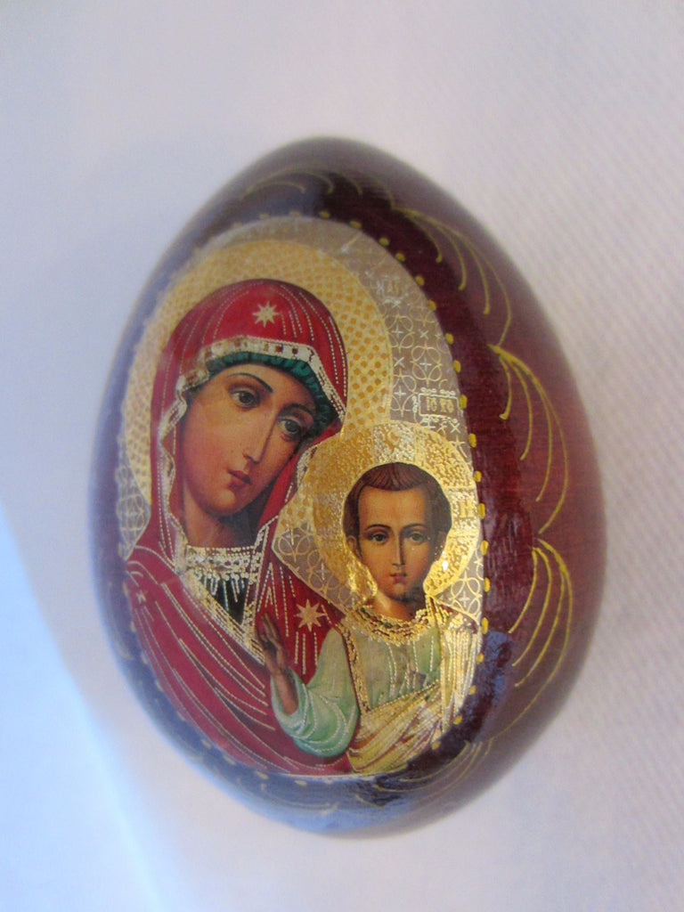 Mahogany Russian Egg Hand Decorated Gold Plated Madonna Child - Designer Unique Finds   - 1