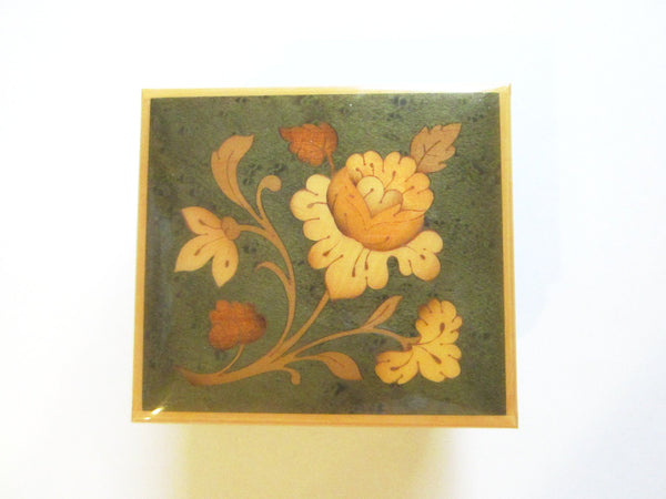 Come Back To Sorrento Maple Music Box Italy Key Wind Floral Marquetry