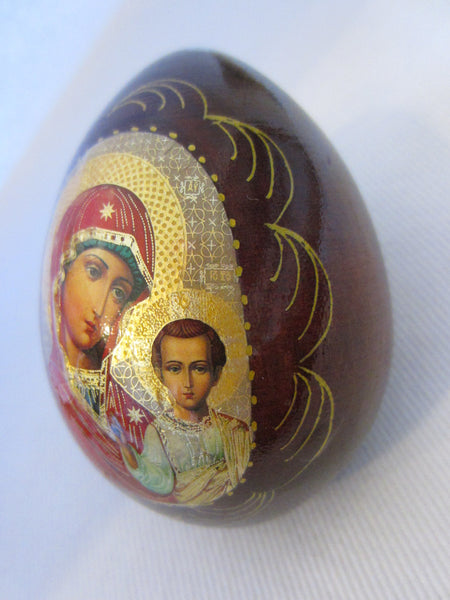 Mahogany Russian Egg Hand Decorated Gold Plated Madonna Child - Designer Unique Finds   - 3