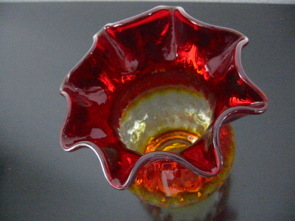 New England Amberina Blown Glass Vase Ruffle Ribbed Design - Designer Unique Finds   - 1