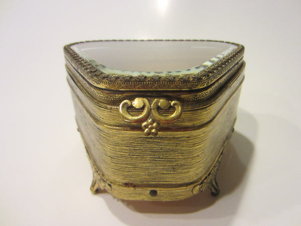Art Deco Jewelry Box Ormolu Footed Beveled Glass Ormolu Floral Flap