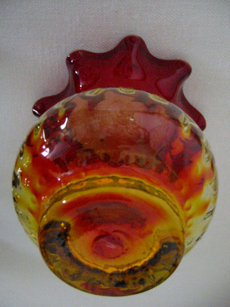 New England Amberina Blown Glass Vase Ruffle Ribbed Design - Designer Unique Finds   - 3