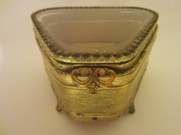 Art Deco Jewelry Box Ormolu Footed Beveled Glass Ormolu Floral Flap - Designer Unique Finds