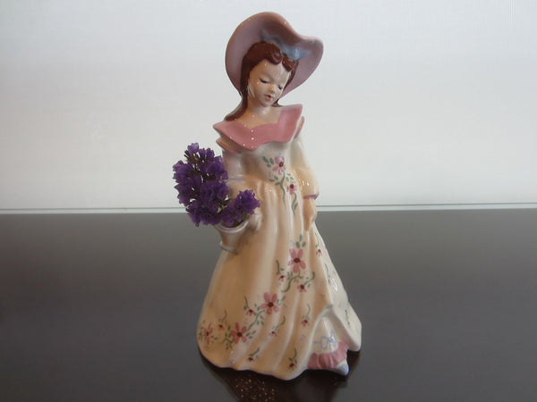 Florence Figure Girl With Pink Hat Flower Basket Ceramic Art