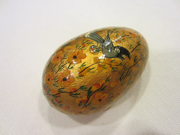 Hand Crafted Eggs Gilt Decorated Wood Colored Flowers Birds