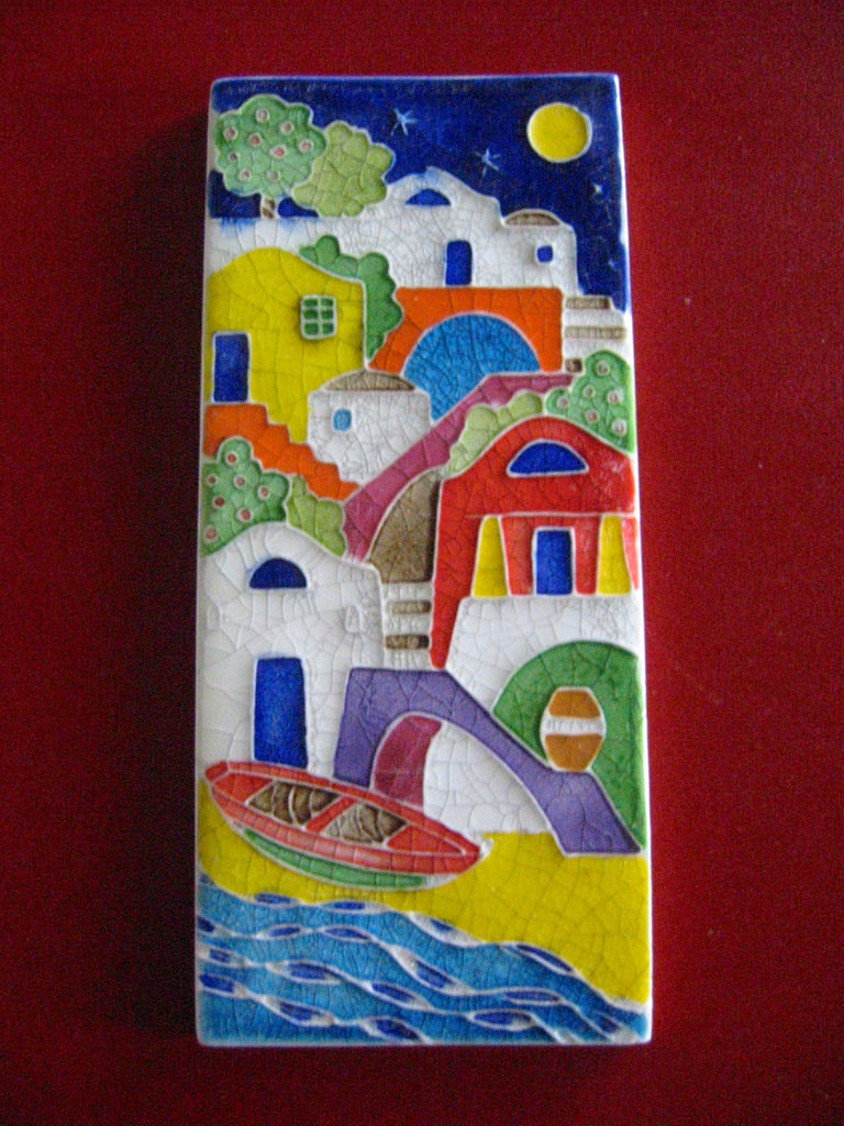 Creazini Luciano Salerno Signed Italian Nautical Ceramic Tile Seaside Design - Designer Unique Finds