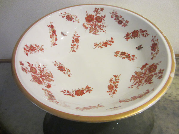Asian Porcelain Fruit Bowl Hand Decorated Rustic Orange Gold Flowers Butterflies