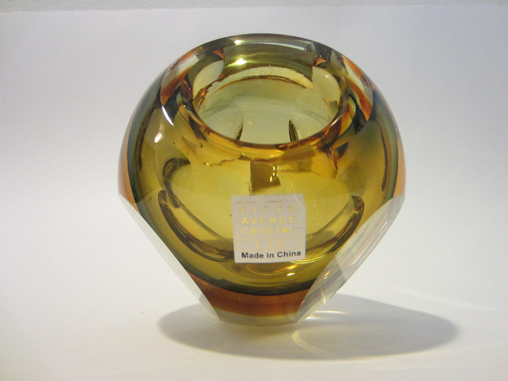 Fifth Avenue Crystal Amber Votive Candle Bowl - Designer Unique Finds   - 1