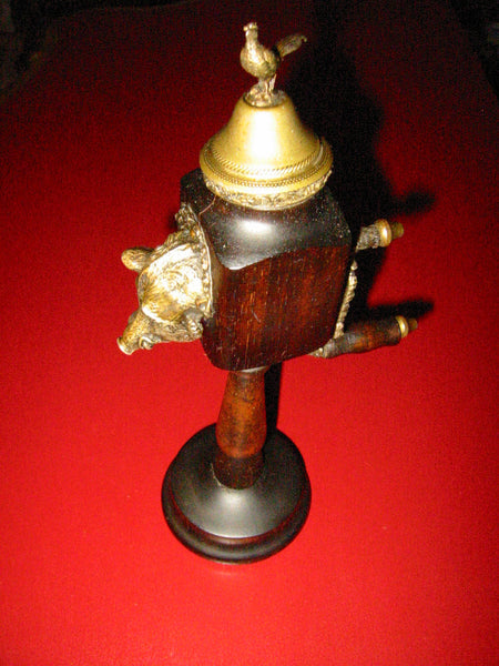 Bronze Boar Mahogany Pepper Mill Grinder Brass Bird Finial - Designer Unique Finds   - 3