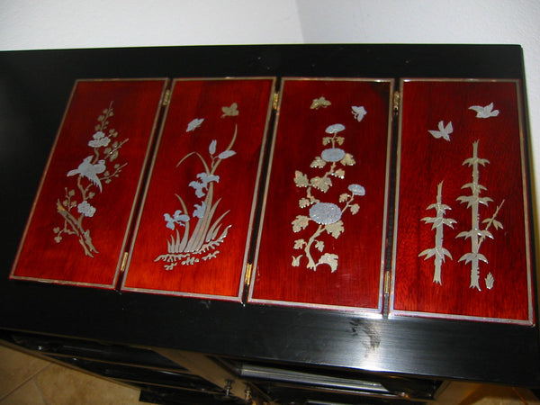 Asian Four Panel Table Screen Highlighted Lacquered Silver Birds Flowers - Designer Unique Finds   - 3