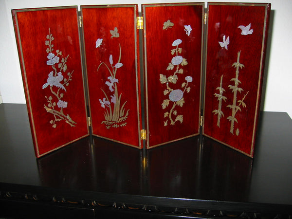 Asian Four Panel Table Screen Highlighted Lacquered Silver Birds Flowers - Designer Unique Finds   - 2