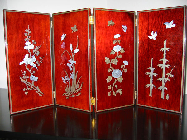 Asian Four Panel Table Screen Highlighted Lacquered Silver Birds Flowers - Designer Unique Finds   - 1