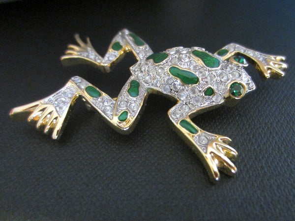 Golden Frog Brooch Green Enamel Swarovsky Crystals