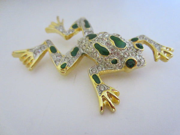 Green Frog Golden Brooch Swarovsky Crystals Enameling - Designer Unique Finds