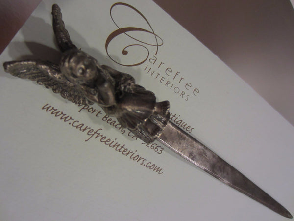 Rococo Style Angel W Wings White Metal Letter Opener - Designer Unique Finds   - 2