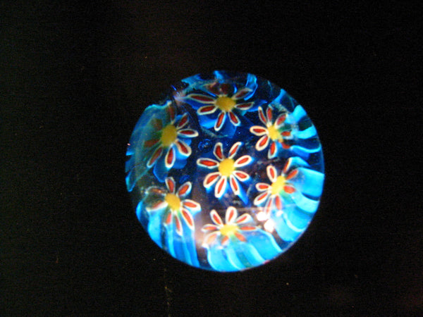 Murano Paperweight Milleifori Glass Daisies - Designer Unique Finds
