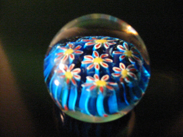 Murano Blue Millefiori Daisy Italian Glass Paperweight - Designer Unique Finds   - 3