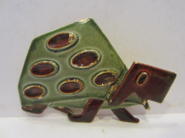 Abstract Turtle Brooch Signed ART - Designer Unique Finds   - 2