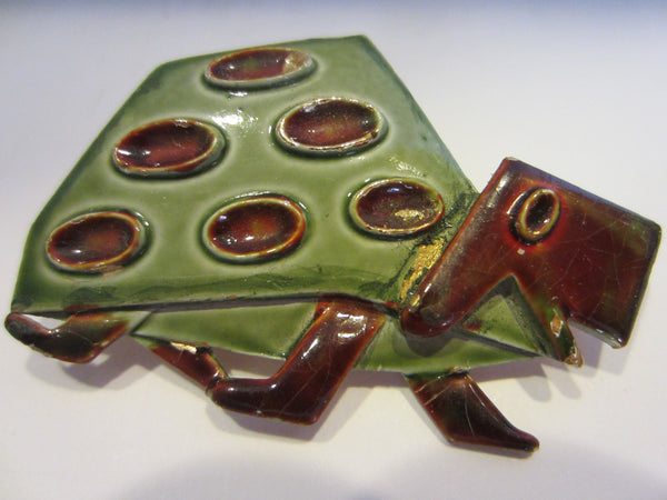 Abstract Turtle Brooch Signed ART - Designer Unique Finds   - 1