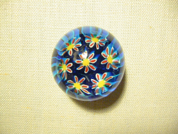 Murano Paperweight Millefiori Glass Blue Yellow Daisies