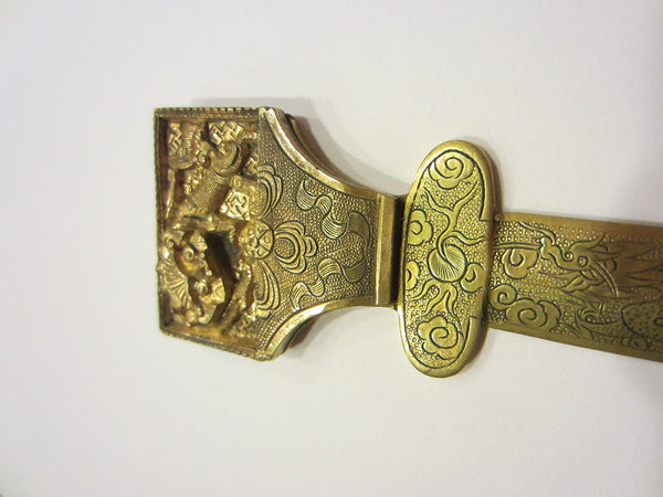 Asian Brass Letter Opener Elaborate Dragons Floral Chasing - Designer Unique Finds   - 7