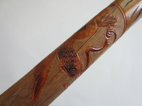 Antique Folk Art Hand Carved Figurative Cane Walking Stick