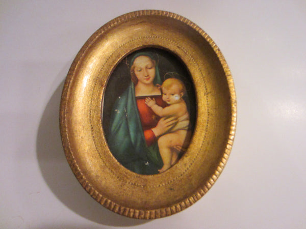 Madonna Child Paper Portrait Oval Gilt Wood Frame - Designer Unique Finds